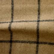 先染フラノ チェック  キャメル(76253-1)Camel, Yarn Dyed Twill Fabric, Windowpane Check