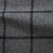 先染フラノ チェック  グレー(76253-2)Gray Yarn Dyed Twill Fabric, Windowpane Check