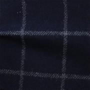 先染フラノ チェック  ネイビー(76253-3)Navy Yarn Dyed Twill Fabric、Windowpane Check