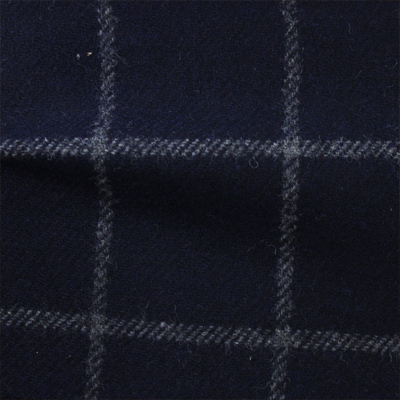 先染フラノ チェック  ネイビー(76253-3)Navy Yarn Dyed Twill Fabric、Windowpane Check