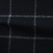 先染フラノ チェック  ブラック(76253-4)Black Yarn Dyed Twill Fabric, Windowpane Check