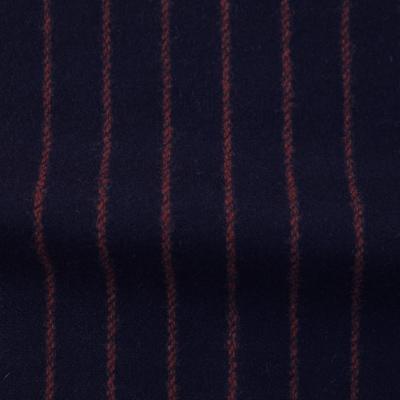 ウールストライプストレッチ ブラック・レッドストライプ(76278-2)Wool Stretch Twill, Navy with Red Stripes