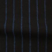 ウールストライプストレッチ ブラック・ブルーストライプ(76278-4)Wool Stretch Twill, Black with Blue Stripes