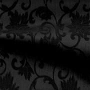 フローラル柄のストレッチ ジャカート ブラック(KKF7312-4917-20) Stretch Jacquard Fabric, Black Floral Pattern