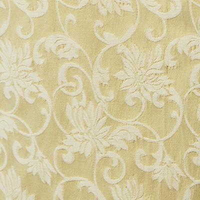 フローラル柄のストレッチ ジャカート ベージュ(KKF7312-4917-21) Stretch Jacquard Fabric, Beige Floral Pattern