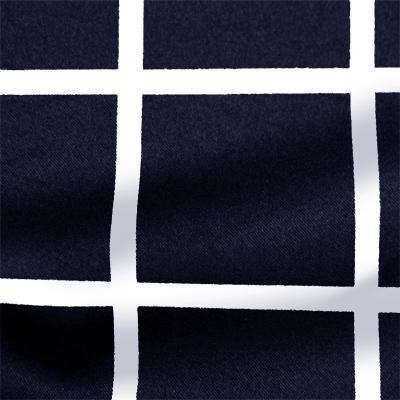 ストレッチサテンビンテージ ネイビー・ホワイト ウインドウーペン(KKP1908SY-D#SB-57A)Navy&White Stretch Satin, Window Pane Print