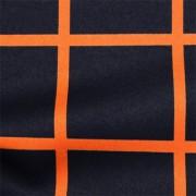 ストレッチサテンビンテージ ネイビー・オレンジ ウインドウーペン(KKP1908SY-D#SB-57OR)Navy&Orange Stretch Satin, Window Pane Print