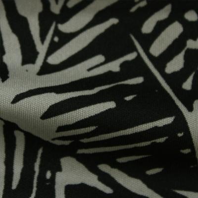 スムースストレッチニット ブラック・グレーの抽象柄 (KKP3398-YS-28-B)Black&Gray Abstract Print, Smooth Stretch Knit