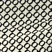 スムースストレッチニット ホワイト・ブラックリング(KKP3399-D#40A)White&Black Smooth Stretch Knit, Geometric Print