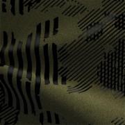 ハイテンションストレッチニット オリーブ・ブラック幾何柄(KKF5200-28-KA) High Tension Stretch Knit, Olive and Black Geometric Print