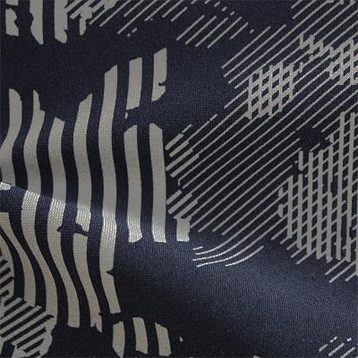 ハイテンションストレッチニット ネイビー・グレー幾何柄(KKF5200-28-NV) High Tension Stretch Knit, Navy and Gray Geometric Print