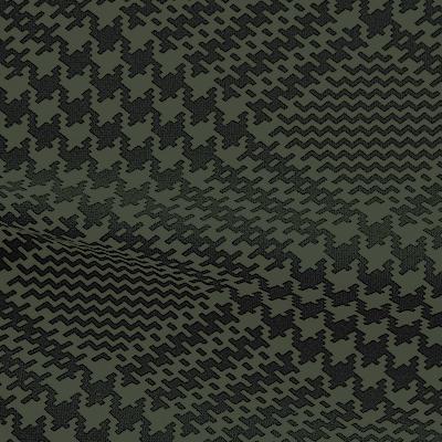 ハイテンションストレッチニット ブラック・オリーブグリーン千鳥格子柄(KKF5200-3-GY) High Tension Stretch Knit, Black and Olivegreen Houndstooth Pattern