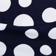 ストレッチ生地 ネイビー&ホワイトドット模様プリント (KKP2480-80-A) Navy & White Dotted Print、Stretch Fabric