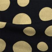 ストレッチ生地 ブラック&ベージュドット模様プリント (KKP2480-80-K) Black & Beige Dotted Print、Stretch Fabric