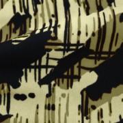 強撚スムースストレッチ ブラウン・ベージュ抽象柄 プリント (KKP2999-22-A)Hard Twist Yarn Fabric, Brown and Beige Abstract Print