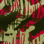 強撚スムースストレッチ マゼンタ・ベージュ抽象柄 プリント (KKP2999-22-B)Hard Twist Yarn Fabric, Purple and Beige Abstract Print