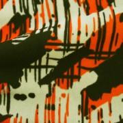強撚スムースストレッチ オレンジ・ベージュ抽象柄 プリント (KKP2999-22-C)Hard Twist Yarn Fabric, Orange and Beige Abstract Print