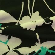 強撚スムースストレッチ ブラック・ベージュ・グリーン花柄 プリント (KKP2999-94-B)Hard Twist Yarn Fabric, Black and Beige Abstract Print with Bluegreen