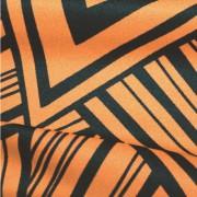 スムースストレッチニット オレンジ・ブラック幾何柄プリント (KKP3399-87-OR)Black&Orange Geometric Print, Smooth Stretch Knit