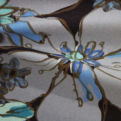 中肉ハイテンションニット多色花柄プリント (KKP5301-44-YS1-B)Thick High Tension Knit, multi Color Floral Print