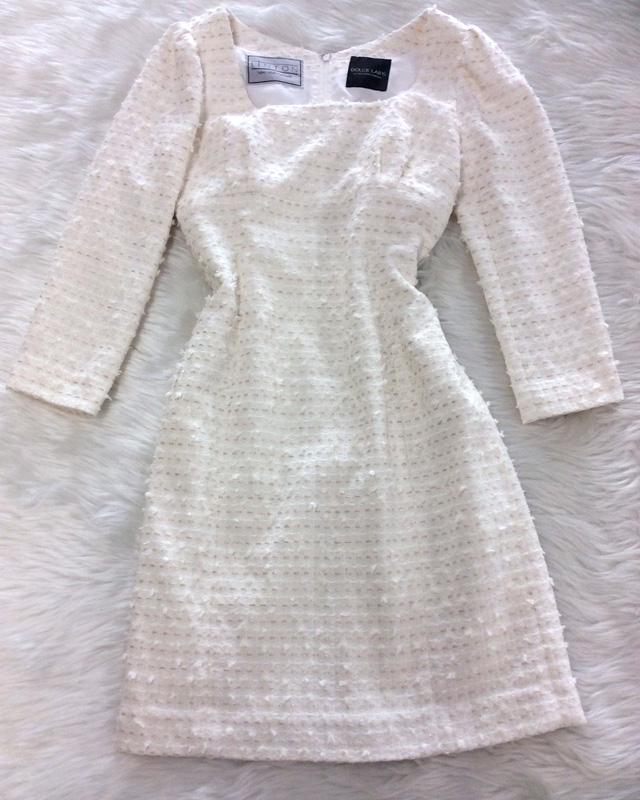 イタリア製ホワイトツイードを使用したハイウエストワンピース<br />High Waist Dress Made of Italian White Tweed