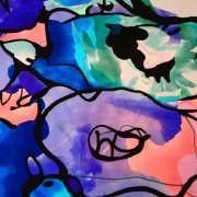 100%シルク、しっかりした花柄生地、ブルーベース&グリーン、ピンク/100%Silk, Firm Fabric with Abstract Flower Pattern, Blue with Green&Pink