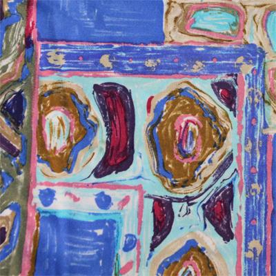NEPHILA ブルー×ブラウンのマルチカラーストレッチジャージ フラワー柄 / Blue&Brown Stretch Nylon Floral(8310-6)