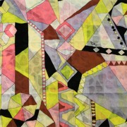 PAROLARI EMILIO PUCCIエミリオプッチ薄手サッカー生地幾何学模様イエロー×グレー×ピンク/100% Cotton Seersucker, Geometric Print,  Yellow×Gray×Pink