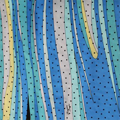 PAROLARI EMILIO PUCCIエミリオプッチシルク生地幾何学模様ブルー×ドット/100% Silk, Geometric Print, Blue×Dots