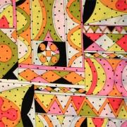 PAROLARI EMILIO PUCCIエミリオプッチシルク生地幾何学模様ピンク×イエロー×ドット/100% Silk, Geometric Print,  Pink×Yellow×Dots