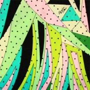 PAROLARI EMILIO PUCCIエミリオプッチシルク生地幾何学模様パステルカラー×ブラック×ドット/100% Silk, Geometric Print,  Pastel×Black×Dots