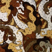 PAROLARI EMILIO PUCCIエミリオプッチシルク生地幾何学模様ブラウン×ホワイと×ドット/100% Silk, Geometric Print,  Brown×White×Dots