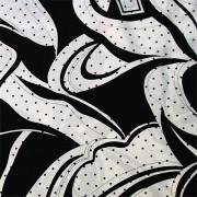 PAROLARI EMILIO PUCCIエミリオプッチシルク生地幾何学模様ブラック×ホワイと/100% Silk, Geometric Print,  Black×White