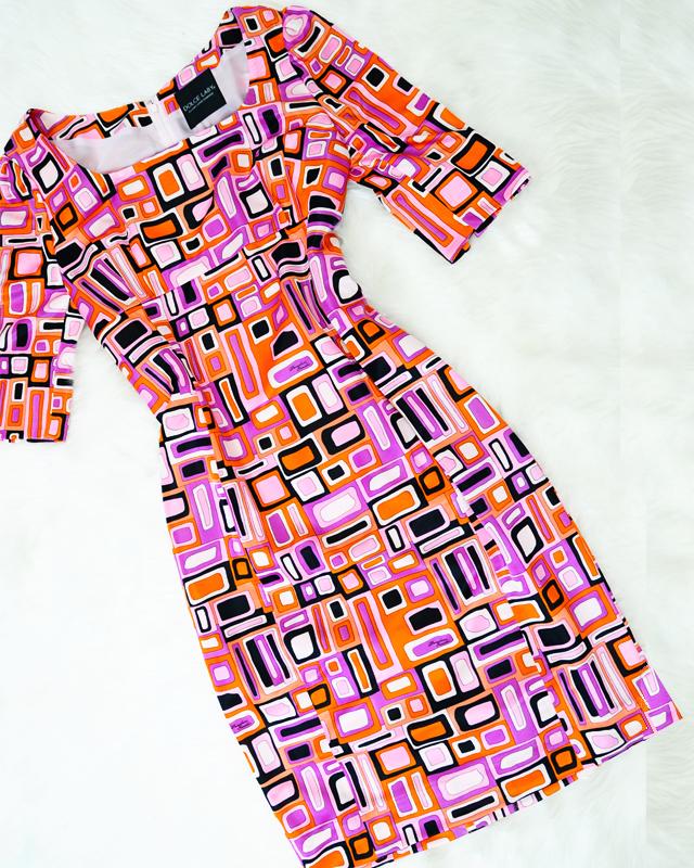 流行りのレトロ色と柄が可愛い★ハイウエスト切替七分丈ワンピース<br />Cute Vintage Inspired Color And Pattern★High Waist Dress with 3/4 Sleeve