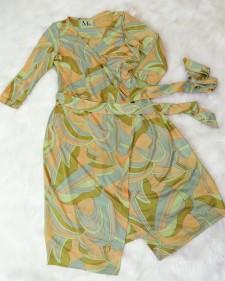 オシャレなカシュクールドレス★タイトラインとゴールドとピンクの配色がとてもエレガント<br />Modern Wrap Dress☆The Gold&Pink Colors And The Tight Cut Are Very Elegant
