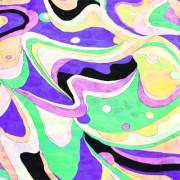 PAROLARI EMILIO PUCCIエミリオプッチ薄手サッカー生地幾何学模様ミント×イエロー×パープル/100% Cotton Seersucker, Geometric Print, Mint Green×Yellow×Purple