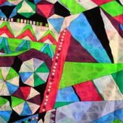 PAROLARI EMILIO PUCCIエミリオプッチ薄手サッカー生地幾何学模様ブルー×グリー×ンピンク/100% Cotton Seersucker, Geometric Print,  Blue×Green×Pink
