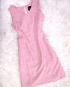 夏らしい麻素材使用♪淡いピンクのタイトワンピース<br />Pink Dress Using Light Summer Linen