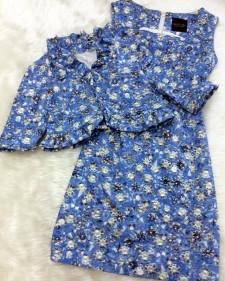 夏らしい爽やかな水色ダイヤ柄♪フリル付きボレロとワンピースのセット<br />Summery Refreshing Light Blue Diamond Pattern ♪ Frilly Bolero With Matching Dress