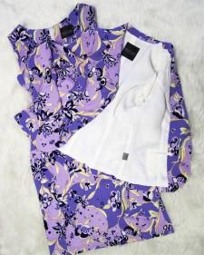 お出かけにもピッタリ!素敵なサマースーツ♪エレガントなパープル花柄<br />A Very Charming Summer Suit, Elegant Purple Flower Pattern