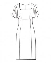 ハイウエスト切替フレアスリーブワンピース(OP-11)/Flare Sleeve High Waist Dress