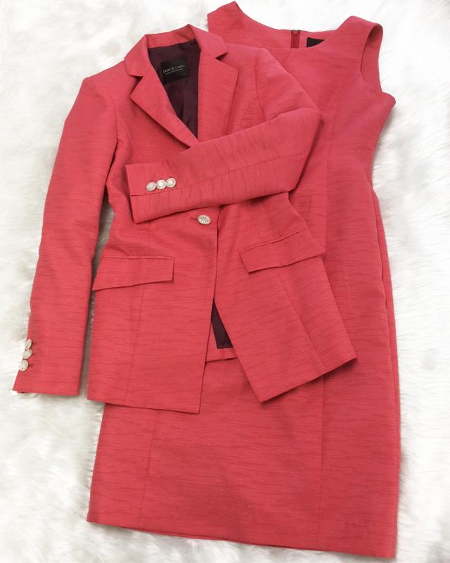 赤の力で元気アップ!♪高級感があるラメ入りオレンジワンピーススーツ<br />Get Your Energy Boost From The Color Red!  Dress Suit With Fancy Fabric