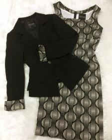 ベージュ&ブラックのワンピーススーツ♪ワンピースの生地とジャケットの裏地が同じデザイン<br />Black and Beige Dress And Jacket Suit♪The Dress Fabric and the Jacket Lining Have the Same Pattern