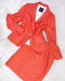 カラースーツでもっとお洒落に!☆パステルオレンジ生地のスカートとジャケットのセット<br />Be Fashionable in a Color Suit☆Pastel Orange Skirt And Jacket