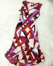 お出かけが楽しみになる!★スタイリッシュなプッチ生地で夏色のワンピース<br />Can't wait to go out!★Dress in stylish Pucci style fabric in summery colors.