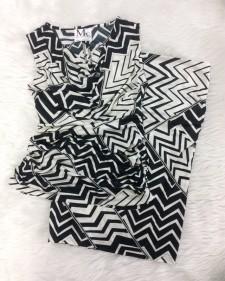 白黒柄がとてもお洒落に見える!★ファッションセンスが抜群なタイトスカート&ノースリーブトップス<br />Get instant fashion appeal with this tight skirt and sleeveless top★Black&White patterns are always IN