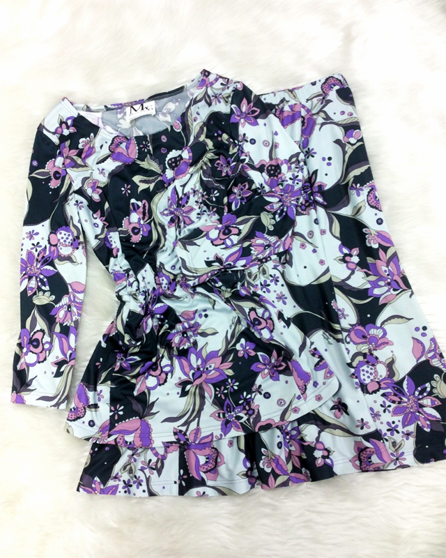 流行りの花柄を使用したツーピース♪爽やかなパープル色がキュート. A top and skirt with trendy flower  design♪The refreshing purple color is especially cute