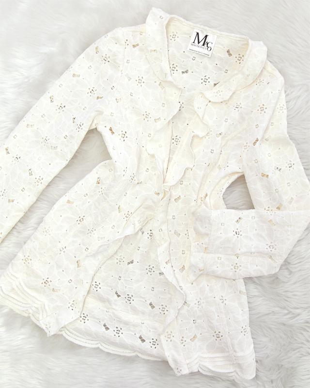 白いレース使いがフェミニンな印象♪軽いカーディガンで暑い日にも快適<br />Show your feminine side with white lace♪ The light cardigan can be also worn on hot days