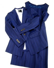 夏生地のワンピーススーツ♪紺色にブルーストライプ<br />Suit with matching dress and jacket♪ Navy summer fabric with blue stripes