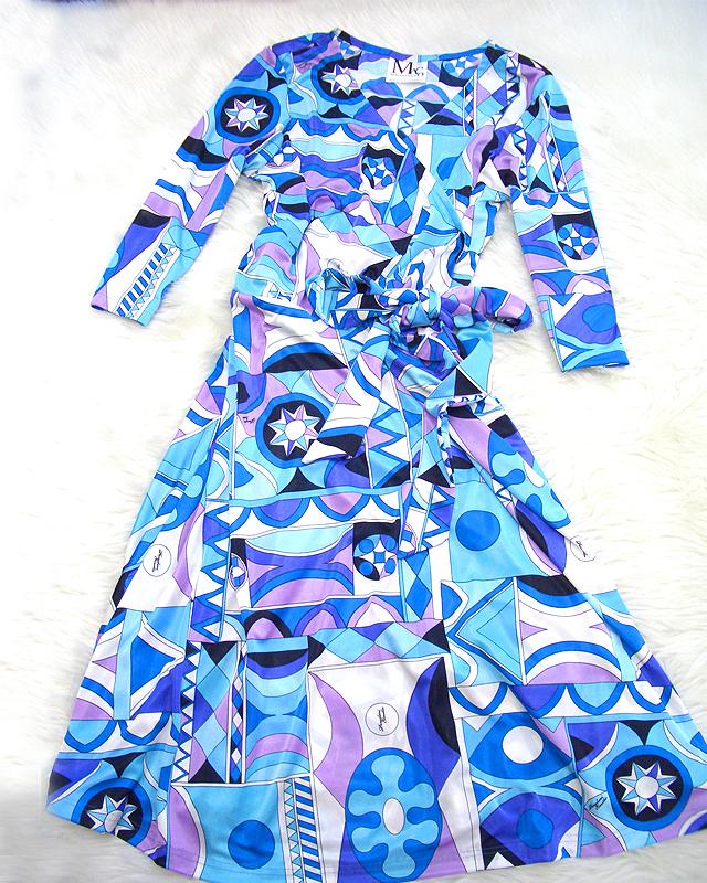 着やすいカシュクールワンピース♪ブルーのプッチ柄が見た目から涼しい<br /> Easy to Wear Cache Coeur Dress♪ The Fresh Blue Pucci-style Pattern Has A Cooling Effect